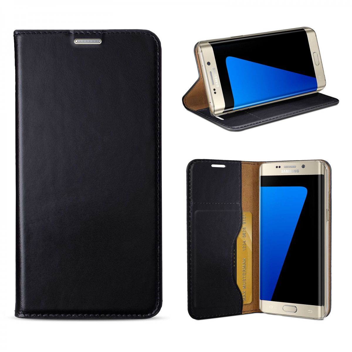 eFabrik Design Case fu00fcr Samsung Galaxy S7 Edge Tasche Leder schwarz ...
