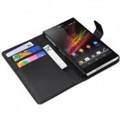Tasche für Sony Xperia Z1 Premium Case Schutz Hülle Flip Cover Stand Funktion Leder-Optik schwarz